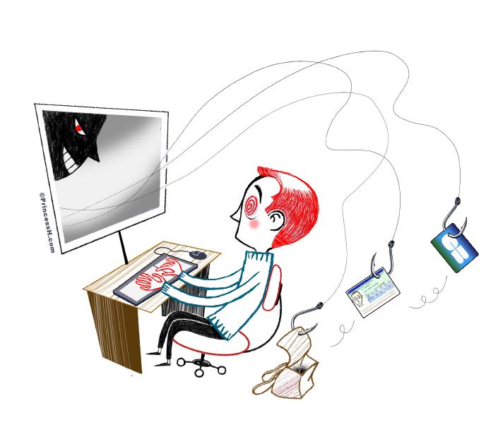 Le phishing, illustration de PrincessH, Tout droits réservés