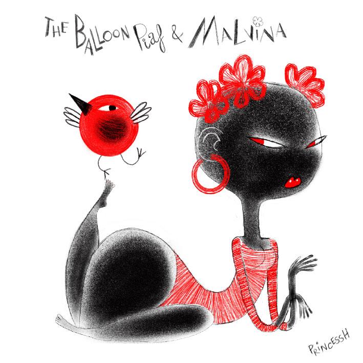 Les duos Idiots : The Balloon Piaf & Malvina, dessin de PrincessH