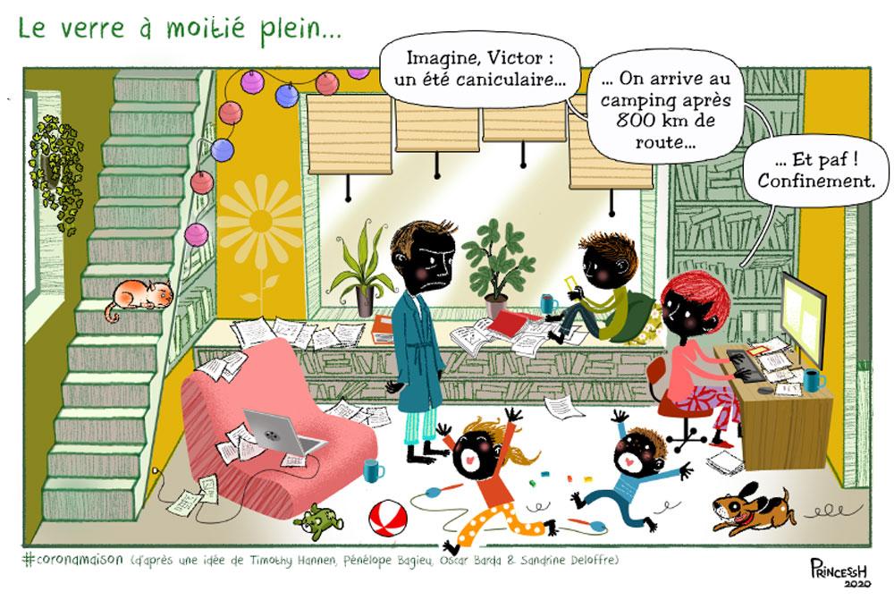 La Coronamaison par PrincessH, d'après une idée de Timothy Hannen, Pénélope Bagieu, Oscar Barda et Sandrine Deloffre, publié dans La Croix, le 26 mars 2020